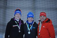 SCHAATSEN: GRONINGEN: Sportcentrum Kardinge, 02-02-2013, Seizoen 2012-2013, Gruno Bokaal, podium 500m Dames, Lotte van Beek, Marrit Leenstra, Jorien Voorhuis, ©foto Martin de Jong