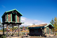 Burwash Landing at Kluane Lake, Yukon Territory, Canada - Food Cache and Old Log Cabin with Sod Roof, Klondike Region