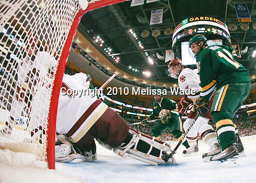Carl Sneep (BC - 7), John Muse (BC - 1), Chris McCarthy (Vermont - 3), Tommy Cross (BC - 4), Brian Roloff (Vermont - 14) - The Boston College Eagles defeated the University of Vermont Catamounts 3-0 on Friday, March 19, 2010, in their Hockey East championship semi-final game at TD Garden in Boston, Massachusetts.