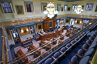 View from the balcony overlooking the Senate Chamber of the South Carolina State Capitol building.