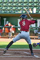 Amalani Fukofuka (8) of the Idaho Falls Chukars at bat against the Ogden Raptors in Pioneer League action at Lindquist Field on August 27, 2015 in Ogden, Utah. Ogden defeated the Chukars 4-3.  (Stephen Smith/Four Seam Images)