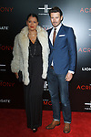 """Alex Lundqvist (right) and Keytt Lundqvist arrive on the red-carpet for the Tyler Perry""""s ACRIMONY movie premiere at the School of Visual Arts Theatre in New York City, on March 27, 2018."""