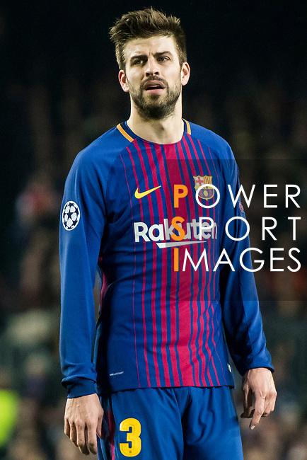 Gerard Pique Bernabeu of FC Barcelona reacts during the UEFA Champions League 2017-18 Round of 16 (2nd leg) match between FC Barcelona and Chelsea FC at Camp Nou on 14 March 2018 in Barcelona, Spain. Photo by Vicens Gimenez / Power Sport Images