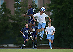 2 September 2007: North Carolina's Scott Campbell (r) and Old Dominion's Nane Joseph (CMR) (l) challenge for a header. The University of North Carolina Tar Heels tied the Old Dominion University Monarchs 1-1 at Fetzer Field in Chapel Hill, North Carolina in an NCAA Division I Men's Soccer game.