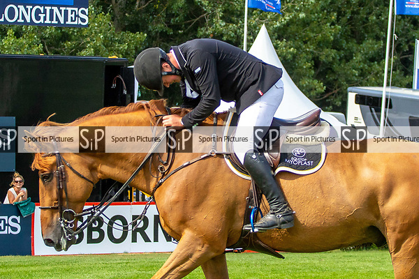 Winner. James Whitaker riding  Glenavadra Brilliant. GBR. The BHS Queen Elizabeth ll Cup. Jump off. Showjumping. Longines FEI Jumping Nations Cup of Great Britain at the BHS Royal International Horse Show. All England Jumping Course. Hickstead. Great Britain. 28/07/2018. ~ MANDATORY Credit Elli Birch/Sportinpictures - NO UNAUTHORISED USE - 07837 394578