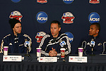 12 December 2009: From left: Blair Gavin, head coach Caleb Porter, Teal Bunbury. The University of Akron Zips held a press conference at WakeMed Soccer Stadium in Cary, North Carolina on the day before playing Virginia in the NCAA Division I Men's College Cup championship game.