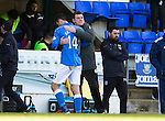 St Johnstone v Dundee....11.04.15   SPFL<br /> Tommy Wright hugs goalscorer Brian Graham as he is subbed<br /> Picture by Graeme Hart.<br /> Copyright Perthshire Picture Agency<br /> Tel: 01738 623350  Mobile: 07990 594431