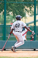 Juaner Aguasvivas of the Gulf Coast League Tigers during the game against the Gulf Coast League Braves July 3 2010 at the Disney Wide World of Sports in Orlando, Florida.  Photo By Scott Jontes/Four Seam Images
