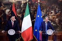 Roma, 26 Luglio 2017<br /> Il primo ministro Paolo Gentiloni durantel'incontro con il primo ministro libico  a Palazzo Chigi
