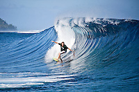 JAY THOMPSON (AUS) surfing at a reef pass near Teahupoo, Tahiti, (Friday May 15 2009.) Photo: joliphotos.com