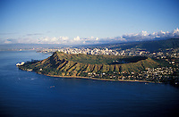 Aerial of Waikiki, Diamond Head in foreground, Honolulu, Oahu, Hawai