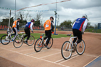 19 APR 2015 - IPSWICH, GBR - Competitors push away from the start during the Elite League cycle speedway fixture between Ipswich Eagles and Sheffield Stars at Whitton Sports and Community Centre in Ipswich, Suffolk, Great Britain (PHOTO COPYRIGHT © 2015 NIGEL FARROW, ALL RIGHTS RESERVED)