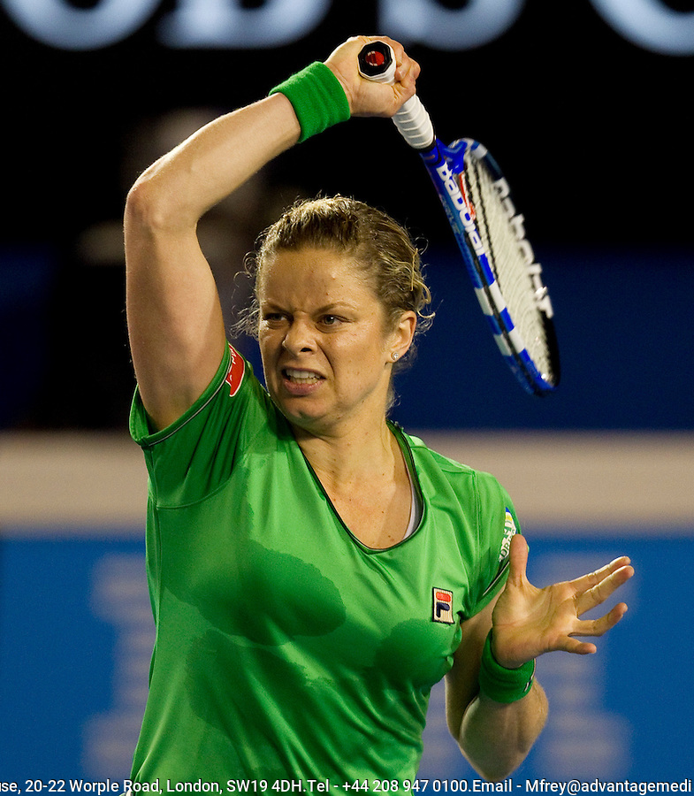 Kim Clijsters (BEL) (3) against Ekaterina Makarova (RUS) in the 4th round of the women's singles. Kim Clijsters beat Ekaterina Makarova 7-6 6-2..International Tennis - Australian Open  -  Melbourne Park - Melbourne - Day 8 - Mon 24th January 2011..© Frey - AMN Images, Level 1, Barry House, 20-22 Worple Road, London, SW19 4DH.Tel - +44 208 947 0100.Email - Mfrey@advantagemedianet.com.Web - www.amnimages.photshelter.com