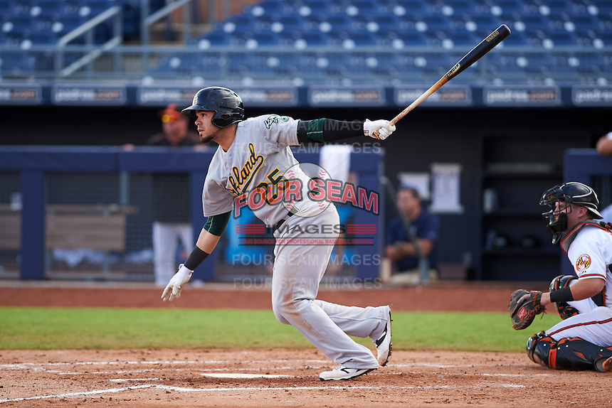 Mesa Solar Sox third baseman Renato Nunez (25) at bat during an Arizona Fall League game against the Peoria Javelinas on October 21, 2015 at Peoria Stadium in Peoria, Arizona.  Peoria defeated Mesa 5-3.  (Mike Janes/Four Seam Images)