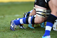 A general view of rainbow laces on a Bath Rugby forward. Aviva Premiership match, between Bath Rugby and Harlequins on November 25, 2017 at the Recreation Ground in Bath, England. Photo by: Patrick Khachfe / Onside Images