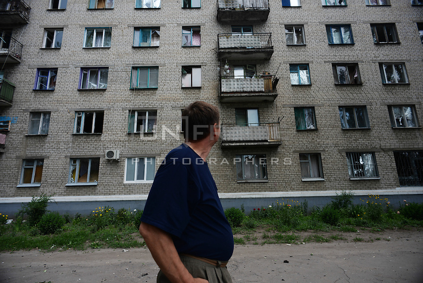 Houses damaged by Ukraine shelling.  Slavyanks, Ukraine.