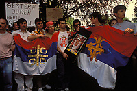 May 1993, Germany; Serbian nationalists interpret the assassination attempt on Monica Seles politically and draw parallels to the extermination of Jews in the Third Reich with a poster