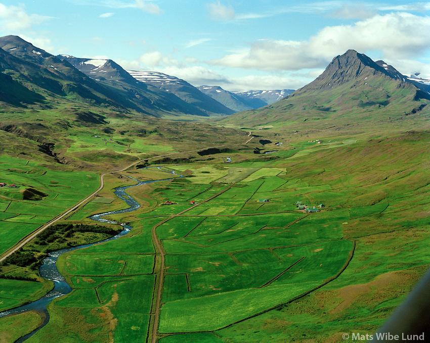 Auðnir og Árhvammur séð til suðvesturs, Hörgárbyggð áður Öxnadalshreppur / Audnir and Arhvammur viewing southwest, Horgarbyggd former Oxnadalshreppur.