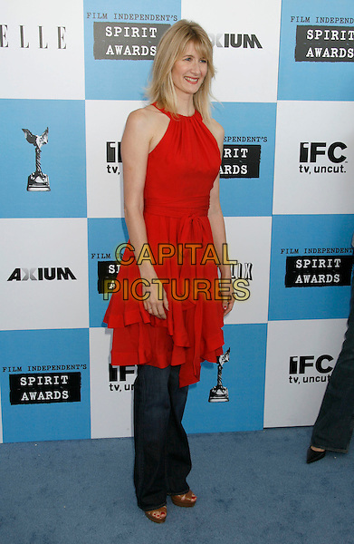 LAURA DERN .The 2007 Independent Spirit Awards held at the Santa Monica Pier, Santa Monica, California, USA..February 24th, 2007.full length red dress jeans denim .CAP/ADM/RE.©Russ Elliot/AdMedia/Capital Pictures