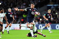Nathan Hughes of England takes on the Fiji defence. Old Mutual Wealth Series International match between England and Fiji on November 19, 2016 at Twickenham Stadium in London, England. Photo by: Patrick Khachfe / Onside Images