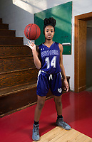 NWA Democrat-Gazette/CHARLIE KAIJO Division I Girls Newcomer of the Year Coriah Beck of Fayetteville High School poses for a portrait, Monday, March 12, 2018 at Springdale High School auxiliary gym in Springdale