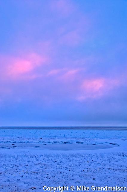Sunset on Hudson Bay coastline<br />Churchill<br />Manitoba<br />Canada