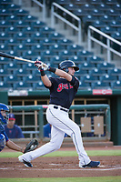AZL Indians designated hitter Taylor Murphy (15) follows through on his swing against the during a rehab start against the AZL Rangers on August 26, 2017 at Goodyear Ball Park in Goodyear, Arizona. AZL Indians defeated the AZL Rangers 5-3. (Zachary Lucy/Four Seam Images)