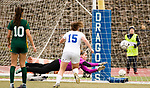 MIDDLETOWN, CT-111817JS29- Holy Cross' Tori Schaffner makes a diving attempt but can't stop the game-winning goal by Old Lyme's Mya Johnson (12) while teammate Adalisse Padilla (10) and Old Lyme's Madeline Zrenda (15) look on during their Class S state final game Saturday at Middletown High School.<br /> Jim Shannon Republican-American