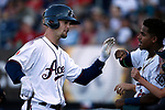 Reno Aces' Caleb Joseph returns to the dugout after hitting a home run against Sacramento River Cats in Reno, Nev., on Thursday, July 4, 2019.<br /> Photo by Cathleen Allison/Nevada Momentum