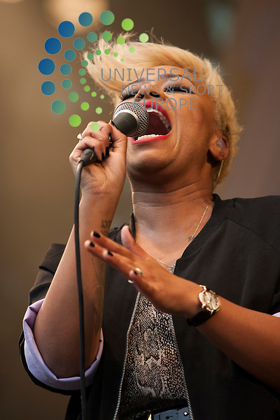 Brit Award winning Emeli Sande perform at the London 2012 Olympic torch Relay Special City Celebration in Glasgow's George Square, presented by Coca-Cola...Picture: Jonathan Faulds / Universal News And Sport (Europe)