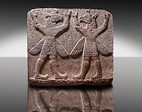 "Picture of Neo-Hittite orthostat describing the legend of Gilgamesh from Karkamis,, Turkey. Museum of Anatolian Civilisations, Ankara.Symetrical mythological Scene depicting ""Winged Griffin Demons"", half men with birds heads & wings. Their hands are raised above their heads supposidly carrying the sky. 3"