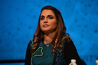 """Washington, DC - April 15, 2016: H.M. Queen Rania Al Abdullah, Hashemite Kingdom of Jordan, participates in the """"Forced Displacement: A Global Development Challenge"""" discussion at the World Bank Group MC building in the District of Columbia during the IMF/World Bank Spring Meetings, April 15, 2016.  (Photo by Don Baxter/Media Images International)"""