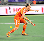 The Hague, Netherlands, June 03: Jelle Galema #20 of The Netherlands reacts after Robbert Kemperman #12 of The Netherlands scores the winning goal with one minute to go during the field hockey group match (Men - Group B) between The Netherlands and Korea on June 3, 2014 during the World Cup 2014 at Kyocera Stadium in The Hague, Netherlands. Final score 2:1 (1:1) (Photo by Dirk Markgraf / www.265-images.com) *** Local caption ***