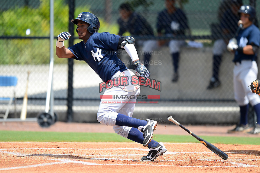 GCL Yankees 2 third baseman Miguel Andujar (33) during a game against the GCL Phillies on July 22, 2013 at Carpenter Complex in Clearwater, Florida.  GCL Yankees defeated the GCL Phillies 2-1.  (Mike Janes/Four Seam Images)
