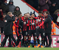 Junior Stanislas (C) of Bournemouth celebrates putting Bournemouth in front with his teammates during the Premier League match between Bournemouth v West Bromwich Albion played at Vitality Stadium, Bournemouth United Kingdom  on 17 Mar 2018