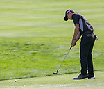 Collin Morikawa putt on the 18th green during the Barracuda Championship PGA golf tournament at Montrêux Golf and Country Club in Reno, Nevada on Sunday, July 28, 2019.