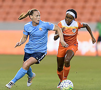 Houston, TX - Friday April 29, 2016: Christine Rampone (3) of Sky Blue FC looks to pass the ball with Chioma Ubogagu (9) of the Houston Dash right behind her at BBVA Compass Stadium. The Houston Dash tied Sky Blue FC 0-0.