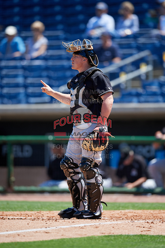Jupiter Hammerheads catcher Skyler Ewing (44) signals to the defense during a game against the Clearwater Threshers on April 11, 2018 at Spectrum Field in Clearwater, Florida.  Jupiter defeated Clearwater 6-4.  (Mike Janes/Four Seam Images)