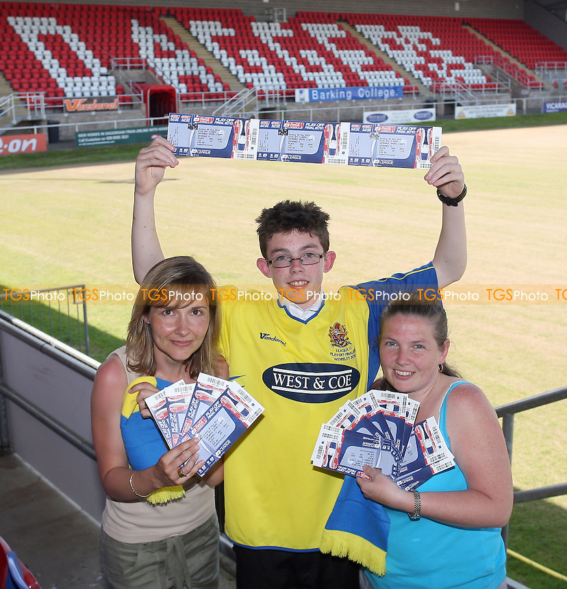 From L: Terri Bray, Gary Bowles and Roz Bowles with their tickets - Coca Cola League Two Play-Off Final tickets go on sale to fans at the London Borough of Barking & Dagenham Stadium, home of Dagenham & Redbridge FC -  24/05/10 - MANDATORY CREDIT: Gavin Ellis/TGSPHOTO - Self billing applies where appropriate - Tel: 0845 094 6026