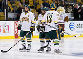 Dean Strong (Vermont - 8), Peter Lenes (Vermont - 3), Corey Carlson (Vermont - 13) - The Boston College Eagles defeated the University of Vermont Catamounts 4-0 in the Hockey East championship game on Saturday, March 22, 2008, at TD BankNorth Garden in Boston, Massachusetts.