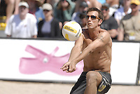 Huntington Beach, CA - 5/6/07:  Sean Rosenthal gets under the ball during Gibb / Rosenthal's 21-17, 21-18 loss to Lambert / Metzger in the championship match of the AVP Cuervo Gold Crown Huntington Beach Open of the 2007 AVP Crocs Tour..Photo by Carlos Delgado /  Special to AVP.com