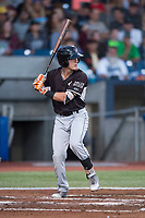 Salem-Keizer Volcanoes second baseman Kyle McPherson (2) at bat during a Northwest League game against the Hillsboro Hops at Ron Tonkin Field on September 1, 2018 in Hillsboro, Oregon. The Salem-Keizer Volcanoes defeated the Hillsboro Hops by a score of 3-1. (Zachary Lucy/Four Seam Images)