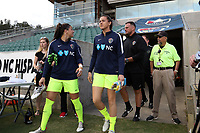 Cary, NC - Saturday April 22, 2017: Katelyn Rowland, Sabrina D'Angelo, Nathan Thackeray prior to a regular season National Women's Soccer League (NWSL) match between the North Carolina Courage and the Portland Thorns FC at Sahlen's Stadium at WakeMed Soccer Park.