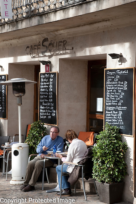 Cafe Soller in Constitution Square, Soller, Majorca, Spain