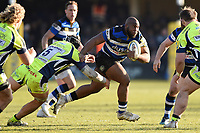 Beno Obano of Bath Rugby takes on the Sale Sharks defence. Aviva Premiership match, between Bath Rugby and Sale Sharks on February 24, 2018 at the Recreation Ground in Bath, England. Photo by: Patrick Khachfe / Onside Images