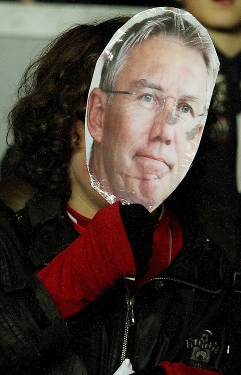 A fan hold up a Nigel Atkins mask in support of his sacking...- Credit - CameraSport - James Marsh - ..Football - Barclays Premiership - Southampton v Everton - Monday 21st January 2013 - St Mary's - Southampton..