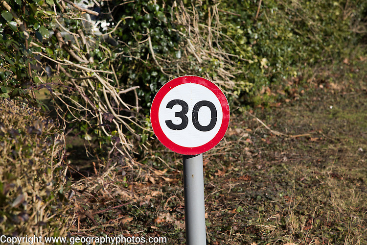 Close-up of thirty miles per hour speed limit sign, UK