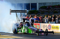 May 18, 2012; Topeka, KS, USA: NHRA top fuel dragster driver Hillary Will during qualifying for the Summer Nationals at Heartland Park Topeka. Mandatory Credit: Mark J. Rebilas-