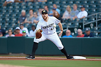 Charlotte Knights first baseman A.J. Reed (47) waits for a throw during the game against the Scranton/Wilkes-Barre RailRiders at BB&T BallPark on August 14, 2019 in Charlotte, North Carolina. The Knights defeated the RailRiders 13-12 in ten innings. (Brian Westerholt/Four Seam Images)