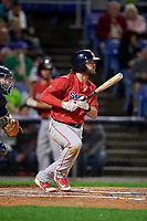 Portland Sea Dogs third baseman Chad De La Guerra (43) follows through on a swing during a game against the Binghamton Rumble Ponies on August 31, 2018 at NYSEG Stadium in Binghamton, New York.  Portland defeated Binghamton 4-1.  (Mike Janes/Four Seam Images)